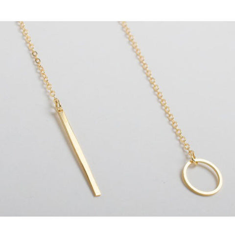 18K Gold Plated Vertical Bar Circle Lariat Necklace Simple Personality Jewelry