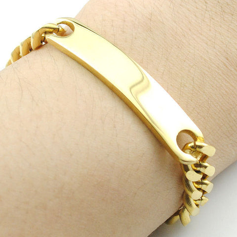 18K Gold Plated Stainless Steel Unisex Link Chain ID Bracelet Bangle Xmas gifts