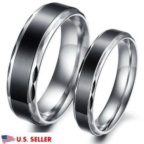 2PCS Black & Silver Stainless Steel Ring Couple Promise Engagement Wedding Rings