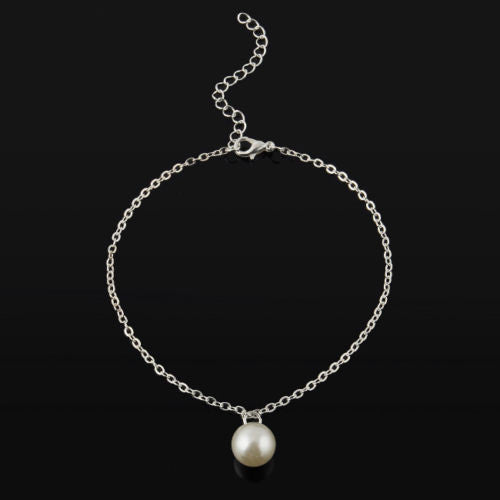 USA Cute Pearl Bead Women Silver Anklet Chain Ankle Bracelet Anklets Jewelry