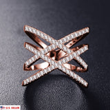 USA Women 18K Rose Gold Plated Austrian Zircon Criss Cross Setting Double X Ring