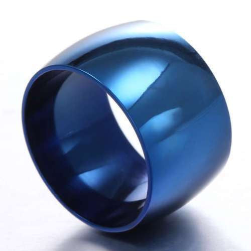 USA 12MM Blue Stainless Steel Mirror Wedding Engagement Wide Ring Band Size 6-13