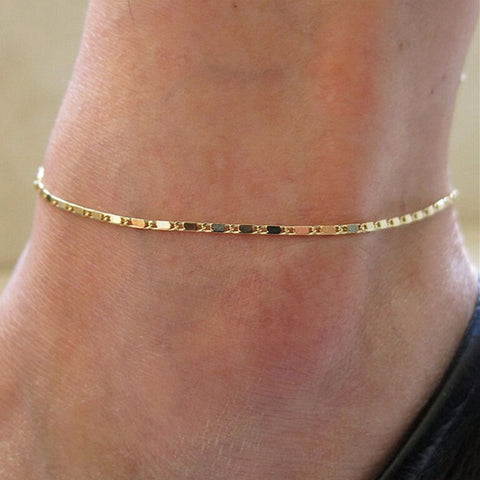 Trendy Miss Simple Gold Chain Anklet Bracelet Barefoot Sandal Beach Foot Jewelry