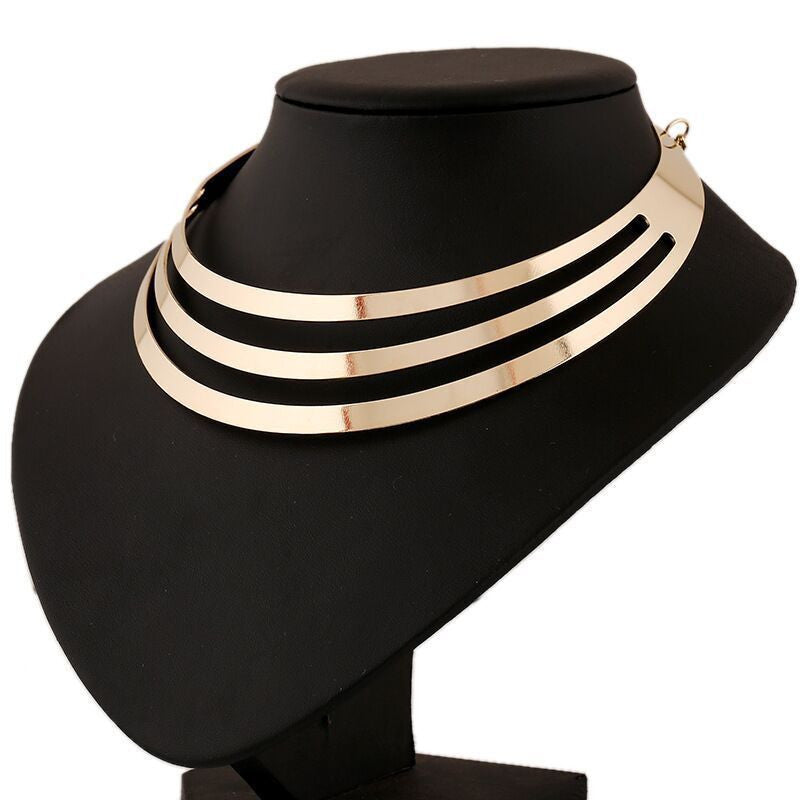 US Choker Necklace Women Gorgeous Metal Multilayer Statement Bib Collar Necklace