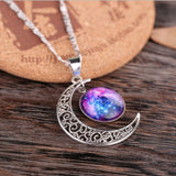 USA Glass Galaxy Lovely Planet Crescent Moon Silver Chain Necklace Pendant Xmas