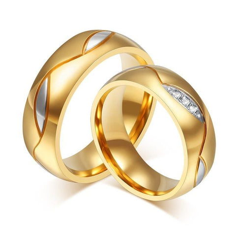 2pcs 18k Gold Plated Titanium Steel Couple Ring Engagement Wedding Promise Rings