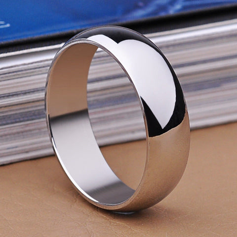 8MM Men Women Silver Stainless Steel Wedding Promise Ring Band Size 6-12