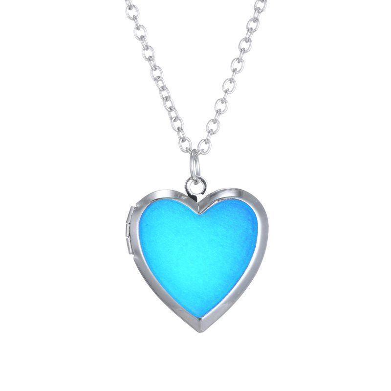 Glow in the Dark Luminous Heart Shape Locket Chain Necklace Pendant