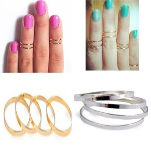 5PC/Set Gold/Silver Urban stack Plain Cute Above Knuckle Band Midi Ring Size 5