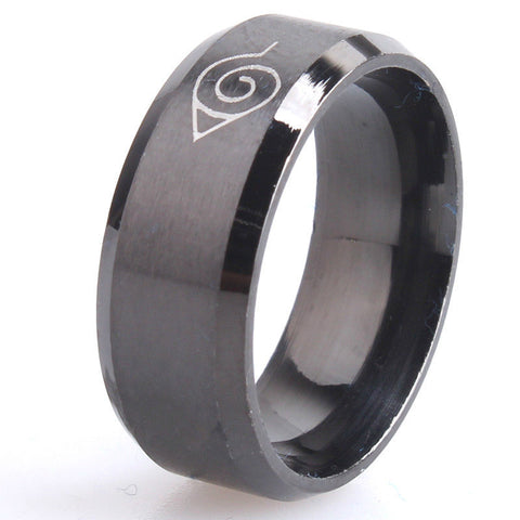8mm Black Stainless Steel Naruto Men Women Promise Engagement Wedding Ring Band