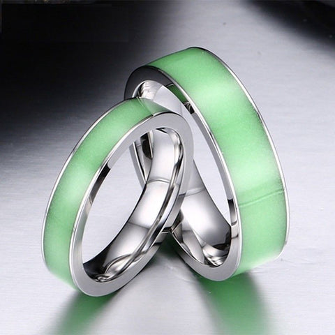 Glow In The Dark Couple Rings Fly Star Jewelry