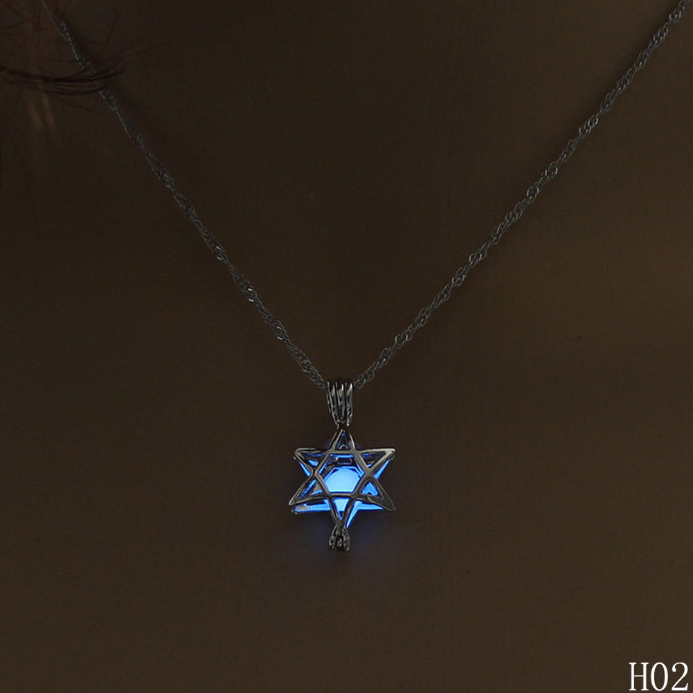 Glow In The Dark 6 Point Hexagram Star Necklace Luminous Jewelry For Women