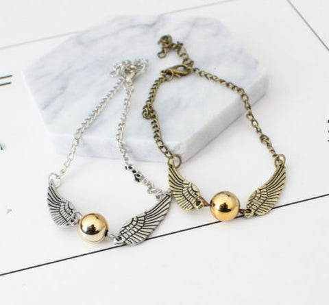 Harry Potter and the Deathly Hallows Golden Silver Snitch Ankle Bracelet Anklet