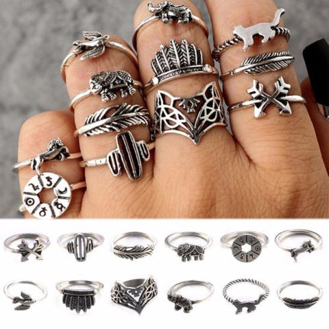 12Pcs/Set Lady Vintage Knuckle Midi Ring Leaf Fox Elephant Design Rings Bands