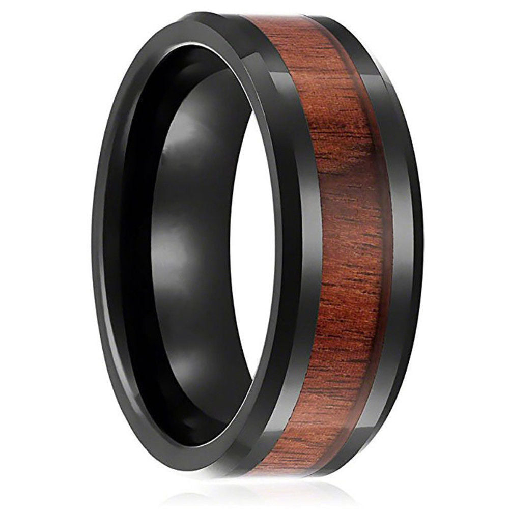 8mm Black Tungsten Stainless Steel Wood Inlay Couple Men's Promise Ring Band