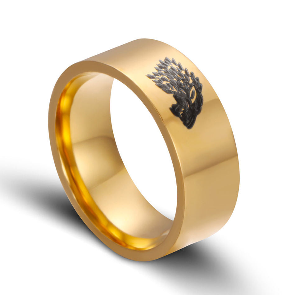 Stainless Steel Game of Thrones Ice Wolf House Stark of Winterfell Men Gold Ring