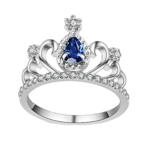 New Silver Plated Blue Rhinestone Women Princess Tiara Crown Ring Size 7-9