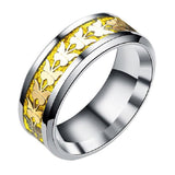 8mm Gold Carbon Fiber Titanium Stainless Steel Gold Butterfly Silver Ring