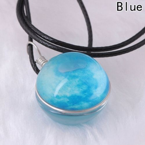 Glow In The Dark Galaxy Planet Full Moon Luminous Pendant Necklaces Jewelry