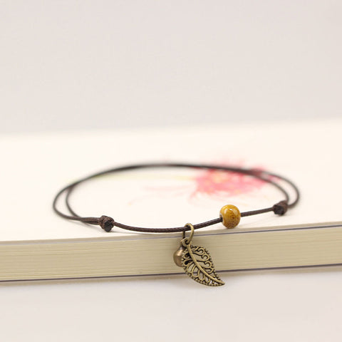 Women Simple Leaf Handmade Anklets Yellow Bead hand-woven Leather anklet Jewelry