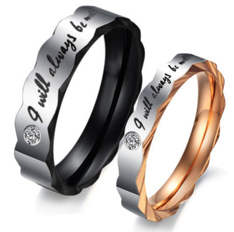 I Will Always Be With You Titanium Steel Ring Couple Wedding Promise Rings Band