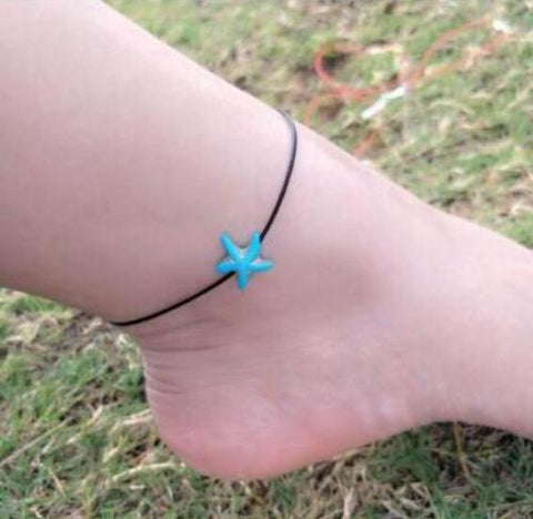 Retro Blue Starfish Anklet Women Sea Star Ankle Bracelet Beach Foot Jewelry