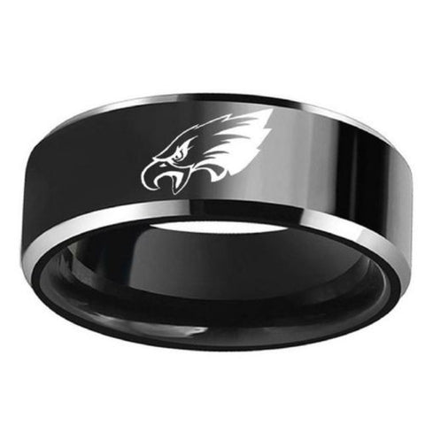 Philadelphia Eagles Football Black Titanium Steel Men Sport Ring Band Size 6-13
