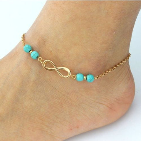 Gold Plated Infinity Turquoise Bead Ankle Bracelet Foot Chain Anklet Jewelry