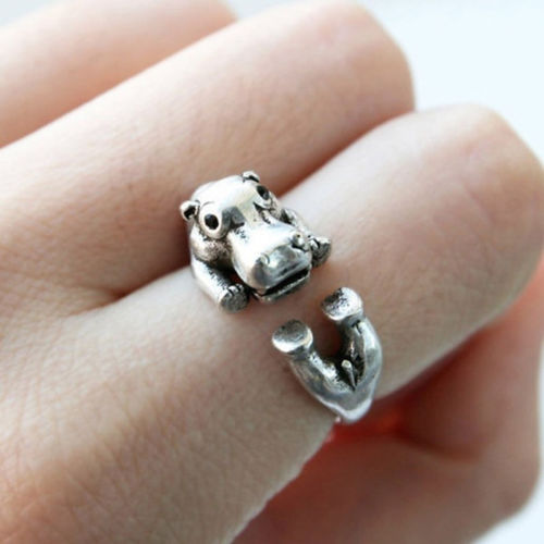 Adjustable Animal Hippo Ring Antique Silver Women's Hippo Rings For Woman Teen