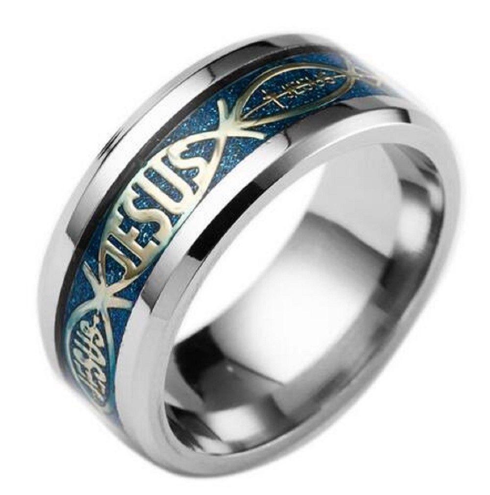 8mm Blue Christian Jesus Letter Titanium Stainless Steel Silver Ring Band