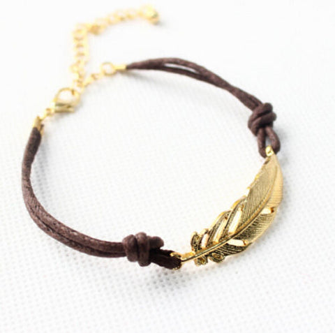 Handmade Friendship Leaf Leather Anklets Feather Anklet Bracelet Foot Jewelry