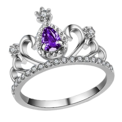 New Silver Plated Purple Rhinestone Women Princess Tiara Crown Ring Size 7-9