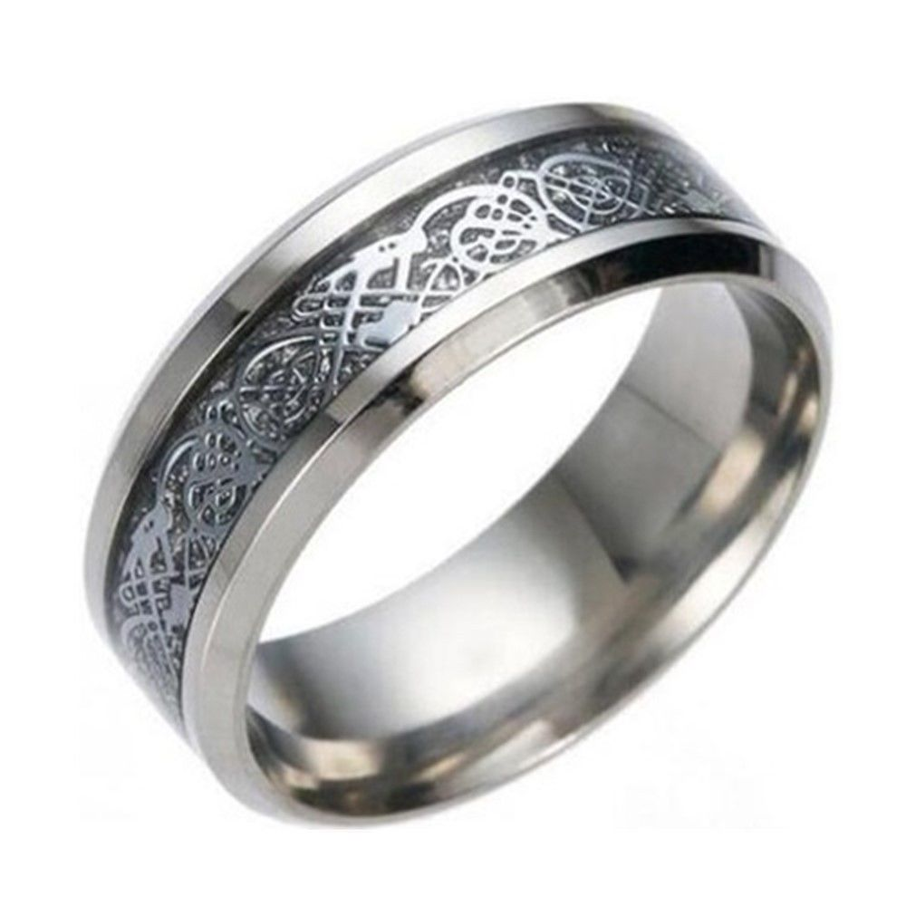 8mm Silver Chinese Dragon Men Women Titanium Stainless Steel Silver Ring Band