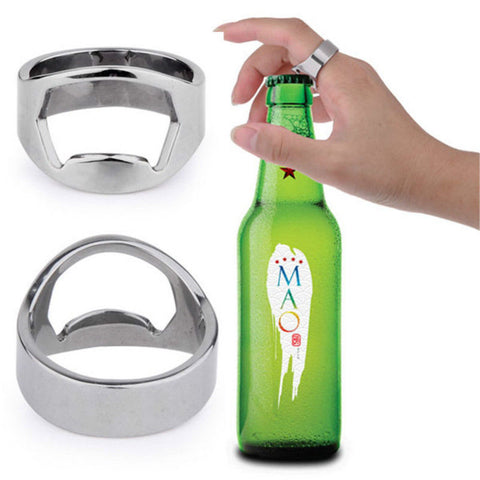 Bottle Opener Ring Stainless Steel Metal Men Thumb finger Opener Rings