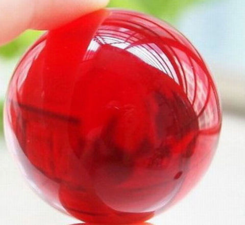 40mm +Stand Asian Rare Natural Red Magic K9 Crystal Healing Ball Sphere
