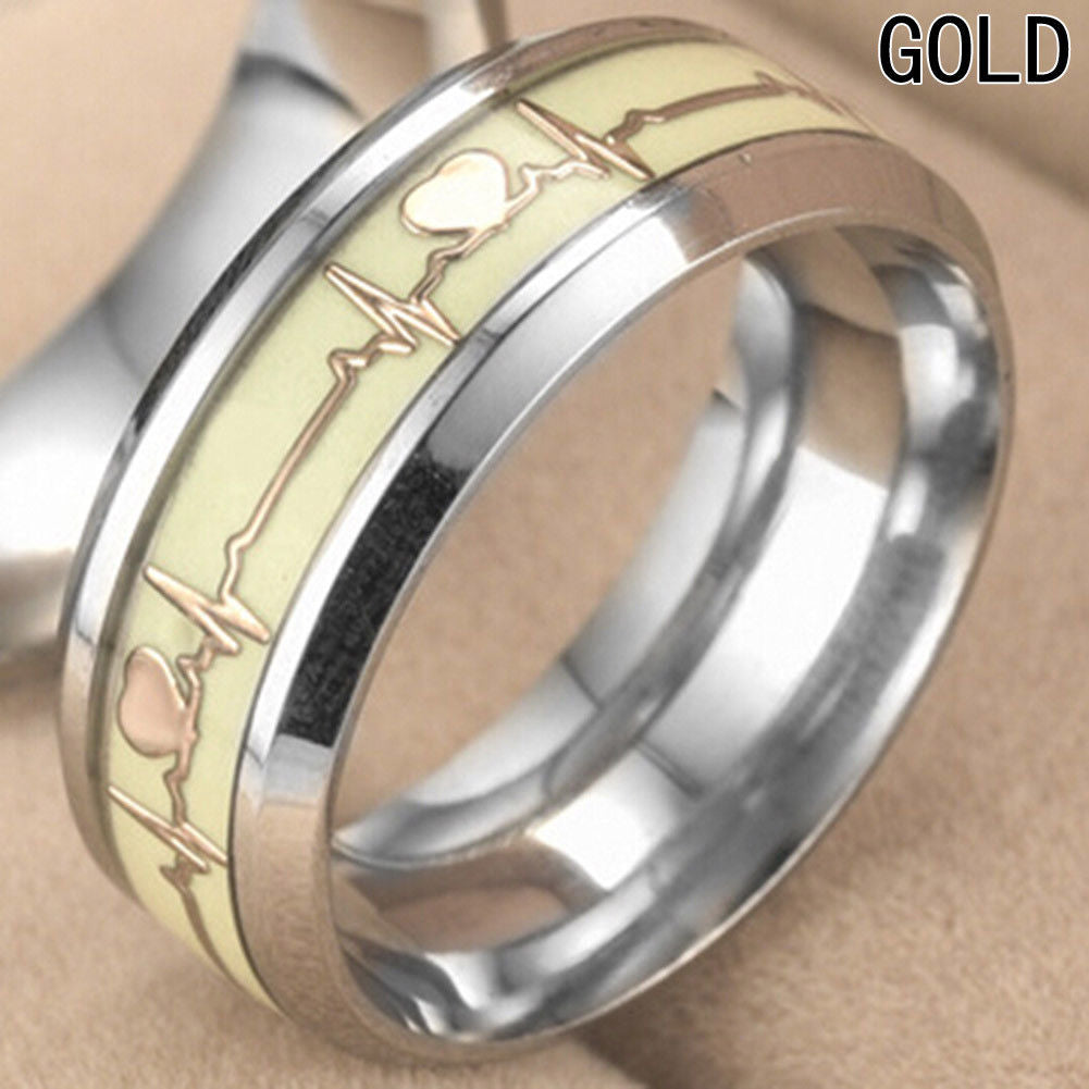 Glow in the Dark Gold Heartbeat Titanium Stainless steel Silver Ring Band