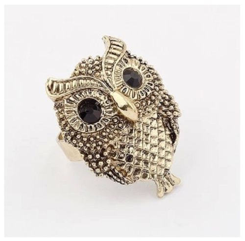 Brown Owl Ring Vintage Punk Adjustable Ring for Women Jewelry