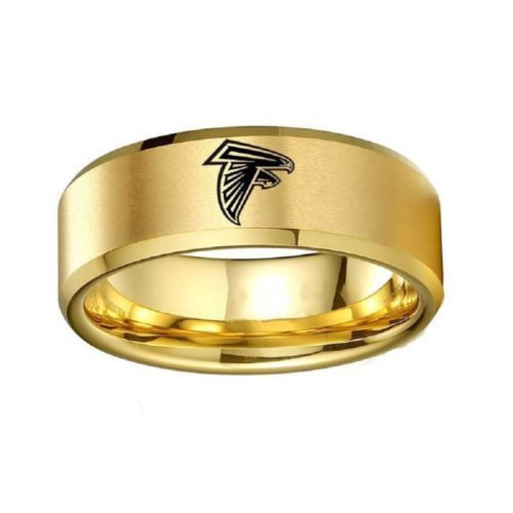 Gold Atlanta Falcons Stainless Steel Digital Engraved Men Football Ring Band