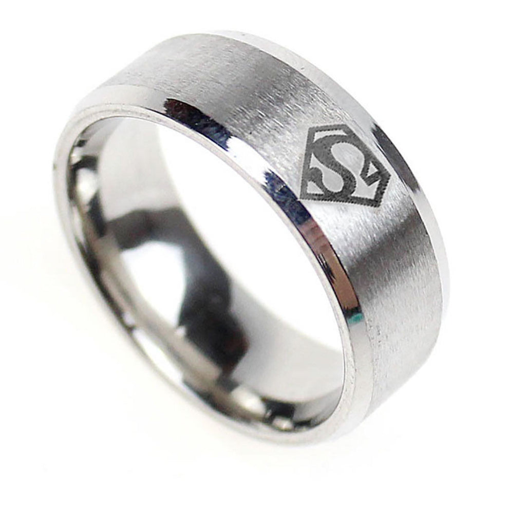 USA 8MM Superman Symbol Silver Tungsten Stainless Steel Men His Ring Band