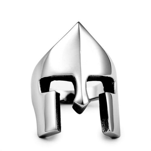 Fashion Punk Stainless Steel Spartan Warriors Mask Helmet Ring Men Size 7-14