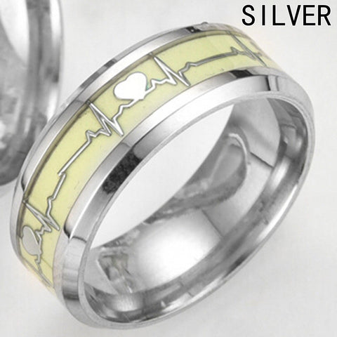 Glow in the Dark Silver Heartbeat Titanium Stainless steel Silver Ring Band