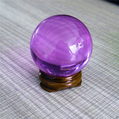 USA 40mm+Stand Asian Rare Natural Purple Magic K9 Crystal Healing Ball Sphere