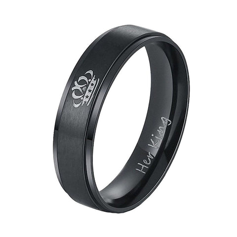6mm Titanium stainless steel Her King Black Crown Ring Men Promise Wedding Ring