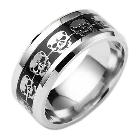 8mm Titanium Stainless steel Black Carbon Fiber Skull Bike Silver Ring Band