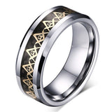 Gold Masonic Titanium Stainless steel Black Carbon Fiber Silver Ring Band