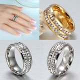 8MM Stainless Steel Double Row Rhinestone Ring Men Women Promise Wedding Band