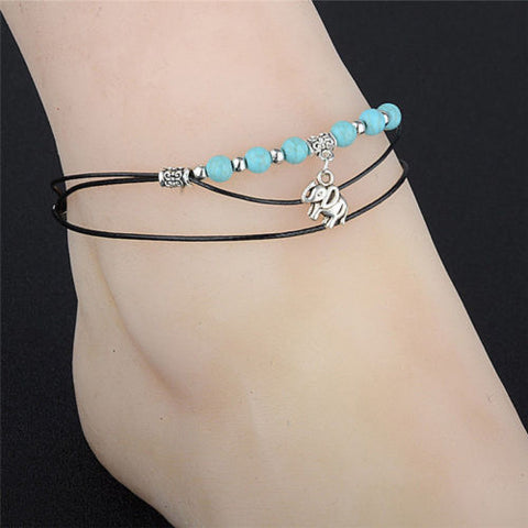 Handmade Turquoise Elephant Black Rope Multi-Layer Anklet Chain Ankle Bracelet