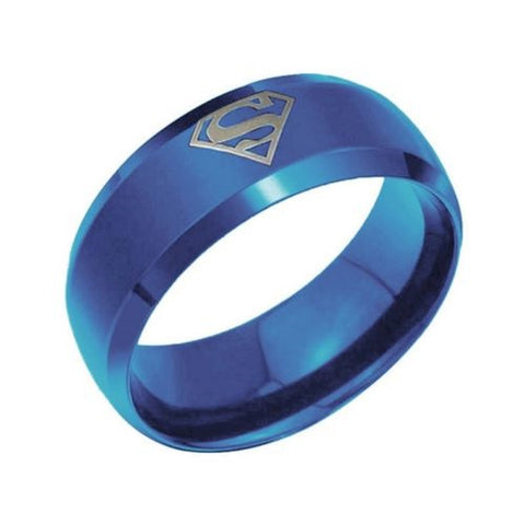 8mm Blue Superman Symbol Men His Titanium Stainless Steel Ring Band