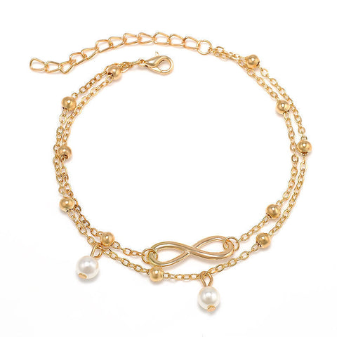 Fashion Gold Infinity Charm Double Chain Anklet Foot Jewelry Ankle Bracelet