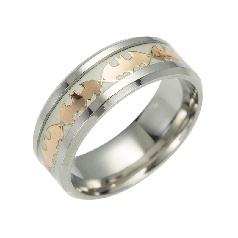 Glow in the Dark Gold Batman 316L Titanium Stainless steel Silver Ring Band